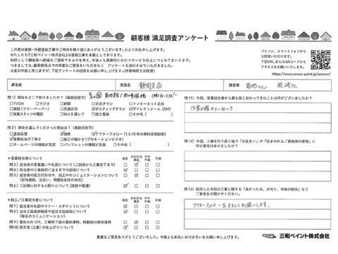 三和ペイント お客様評価 TS邸(静岡支店)