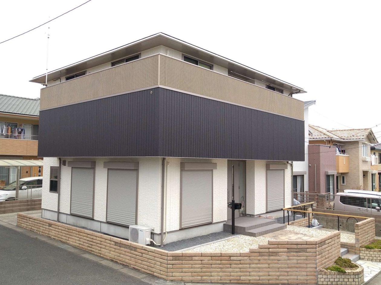 茨城県日立市/洋風戸建て外壁塗り替え(ベージュ・グレー ラジカル系)