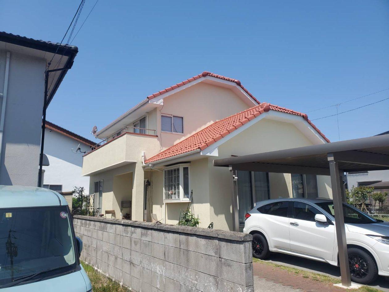 鳥取県米子市/洋風戸建ての外壁塗り替え(ベージュ ラジカル系)・屋根塗り替え(オレンジ フッソ系)