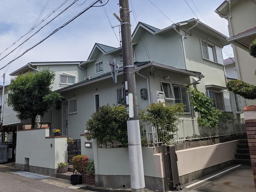 兵庫県神戸市/洋風戸建ての外壁塗り替え(グリーン シリコン系)・屋根塗り替え(グリーン フッソ系)