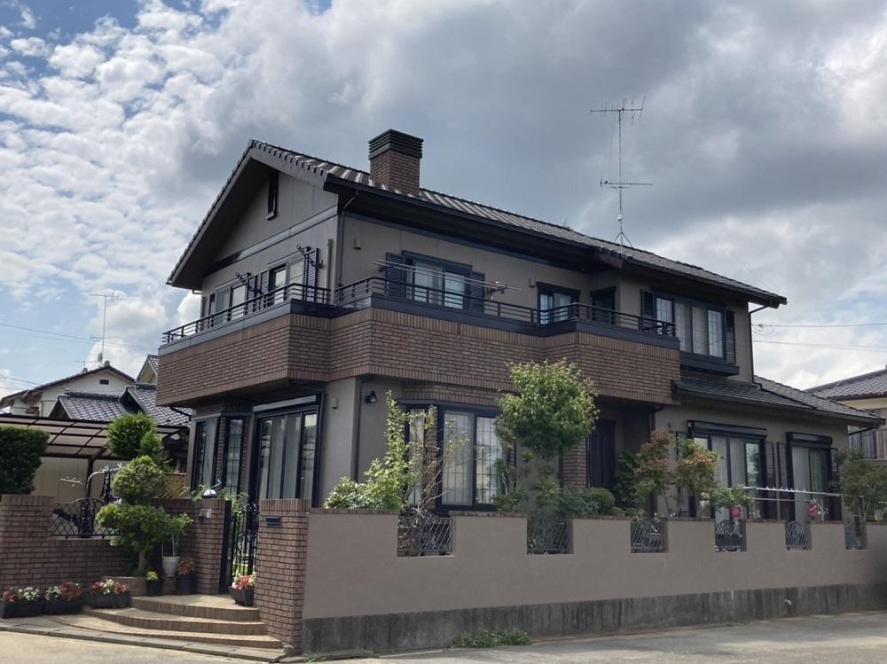 茨城県石岡市/洋風戸建て外壁塗り替え(ブラウン フッソ系)