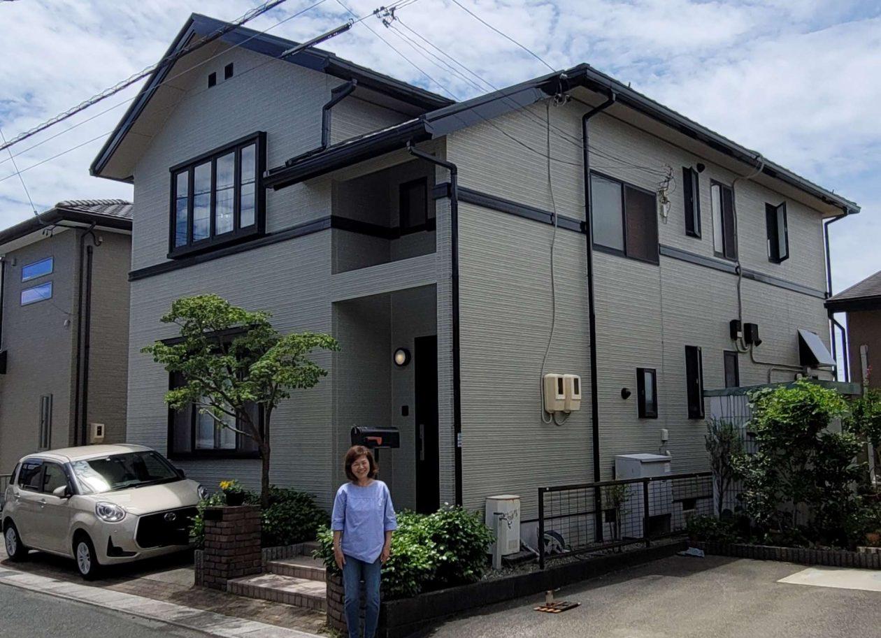 静岡県浜松市/洋風戸建ての外壁塗り替え(ベージュ ラジカル系)