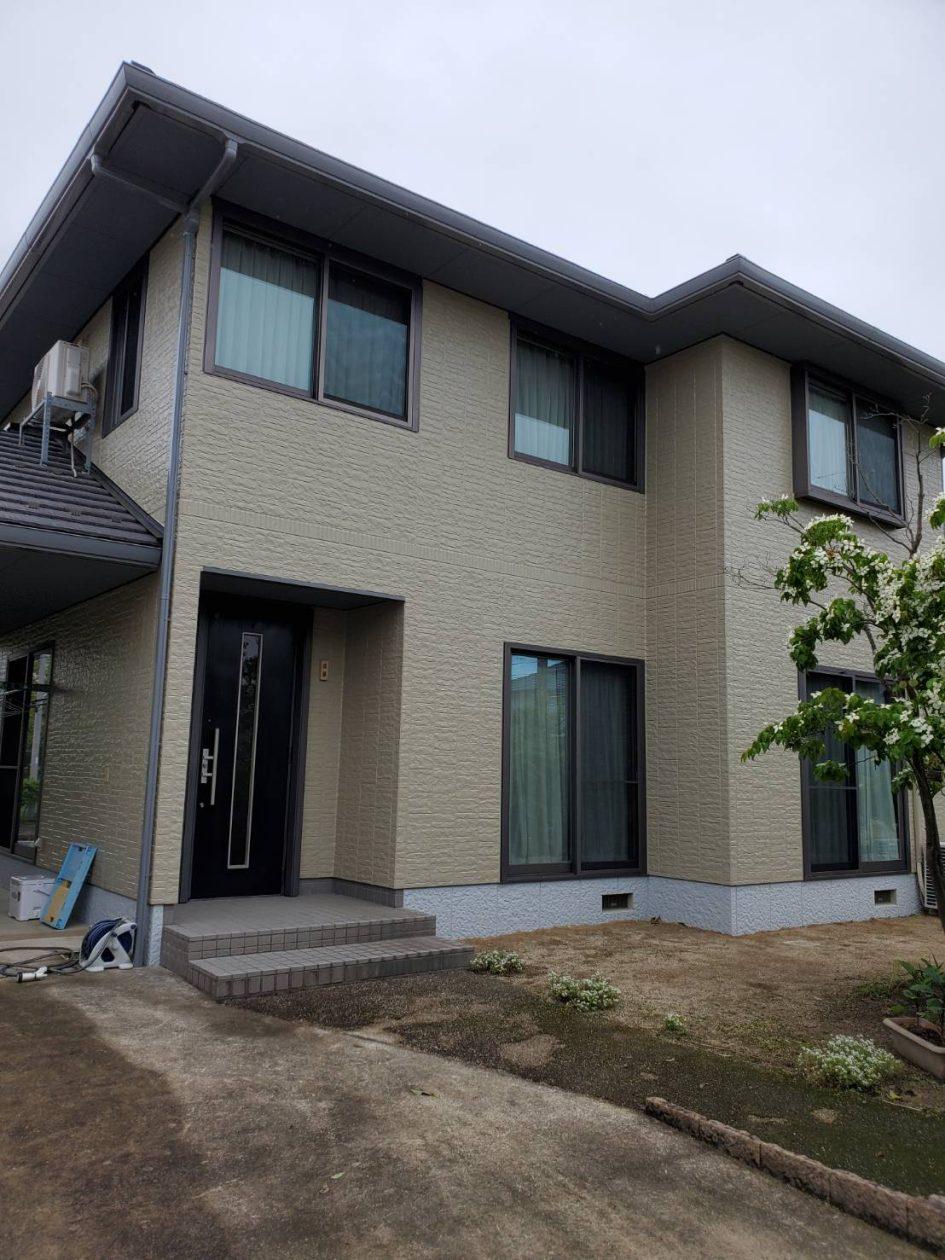 鳥取県倉吉市/洋風戸建ての外壁塗り替え(ベージュ フッソ系)