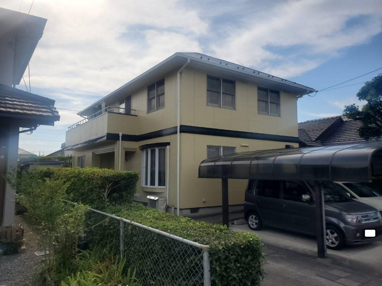 鳥取県米子市/洋風戸建ての外壁塗り替え(オレンジ ラジカル系)・屋根塗り替え(ブルー フッソ系)