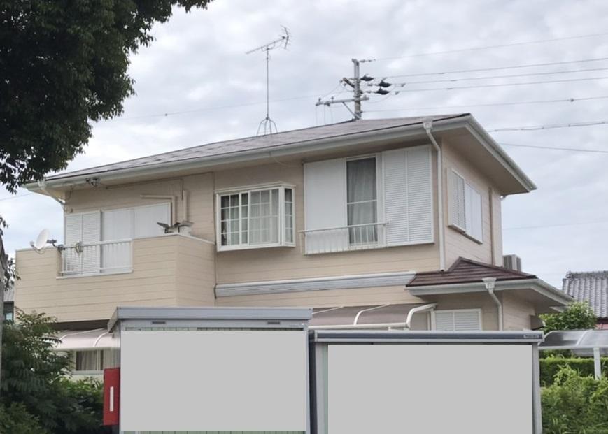 静岡県浜松市/洋風戸建ての外壁塗り替え(オレンジ シリコン系)・屋根塗り替え(ブラウン シリコン系)