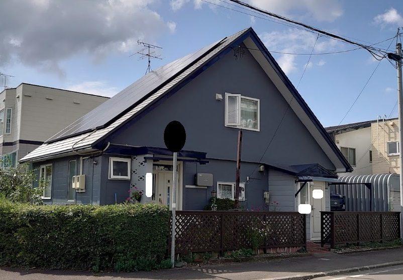 北海道恵庭市/洋風戸建ての屋根塗り替え(ブルー フッソ系)